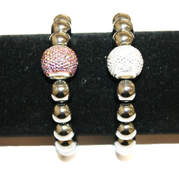 Hematite bead with acrylic diamond bead bracelet kit 20pcs (£1.50 each)